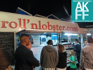 Big line at Roll n Lobster - Food truck at 1st Friday