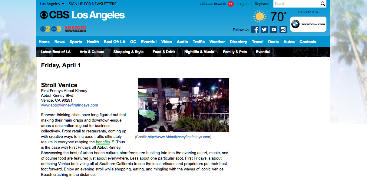 CBS-Digital Features Abbot Kinney First Fridays